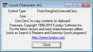 Funduc Software Count Characters Screen Shot