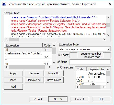 Search and Replace Wizard - Sample Screen