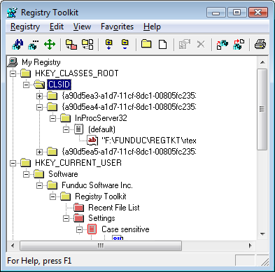 registry toolkit screen shot - Registry